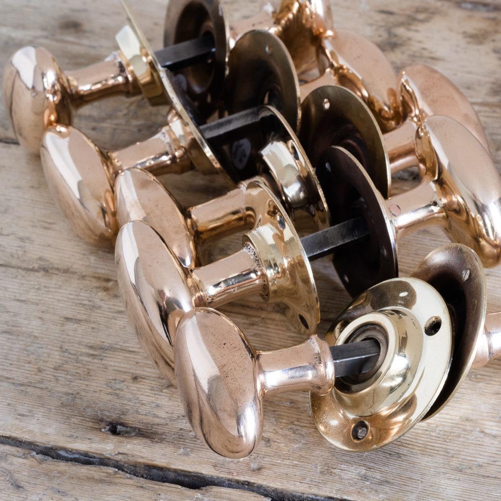 Rose brass oval door knobs,-119921