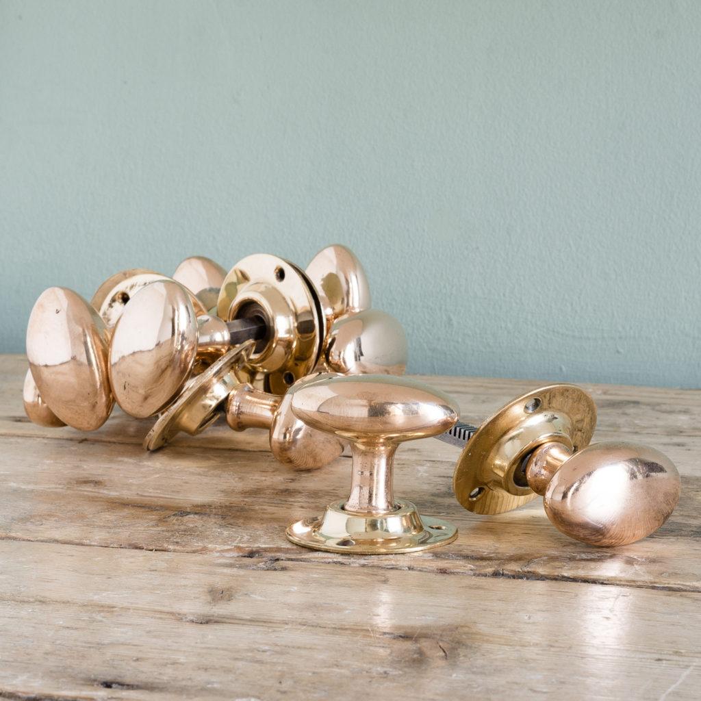 Rose brass oval door knobs,-0
