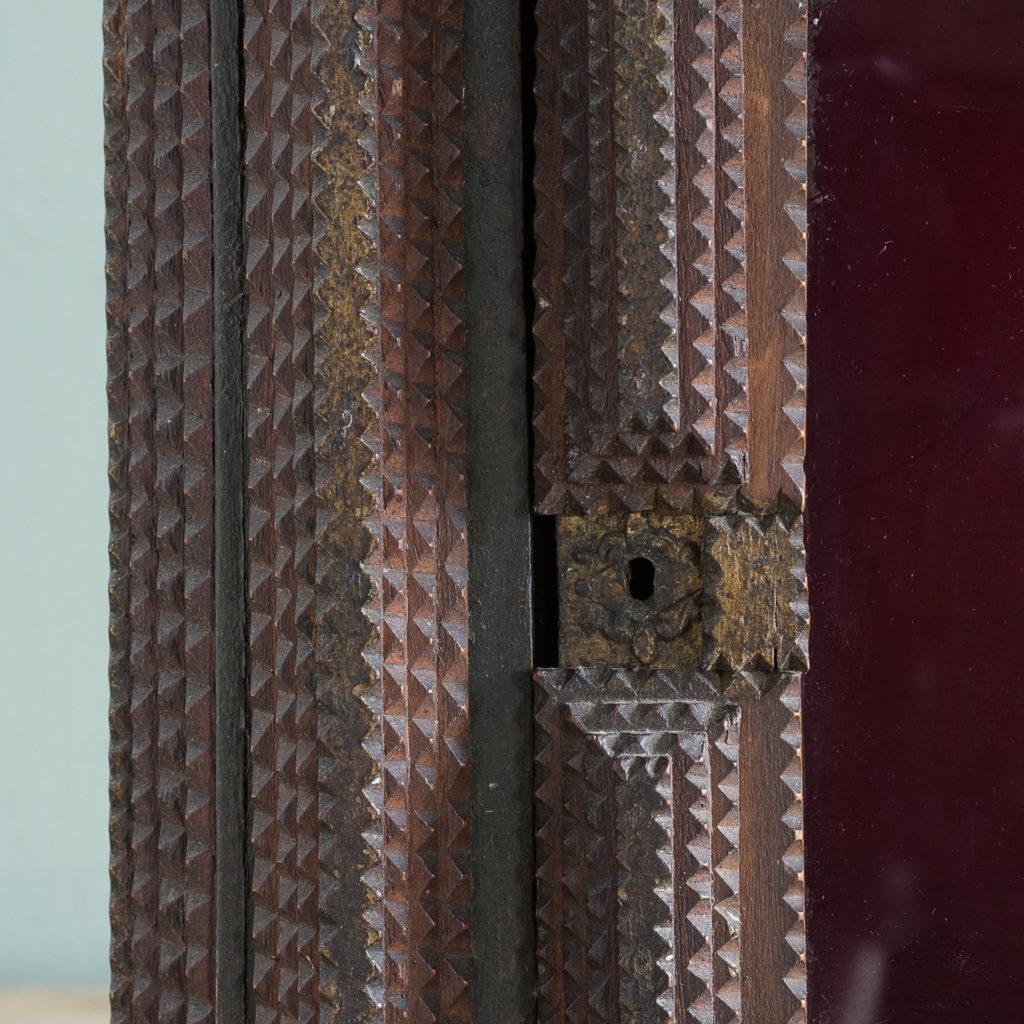 Tramp art wall cupboard,-119961
