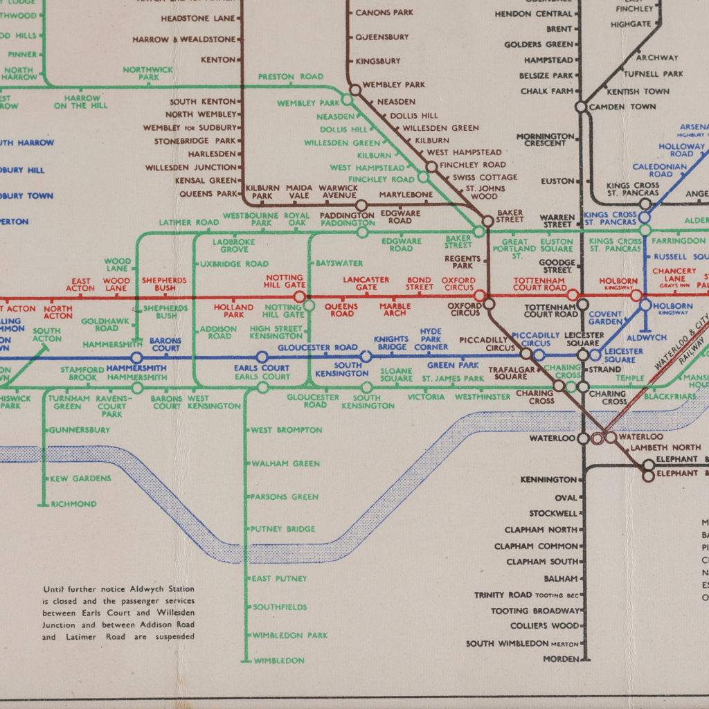 1945 London Underground Transport map,-118761