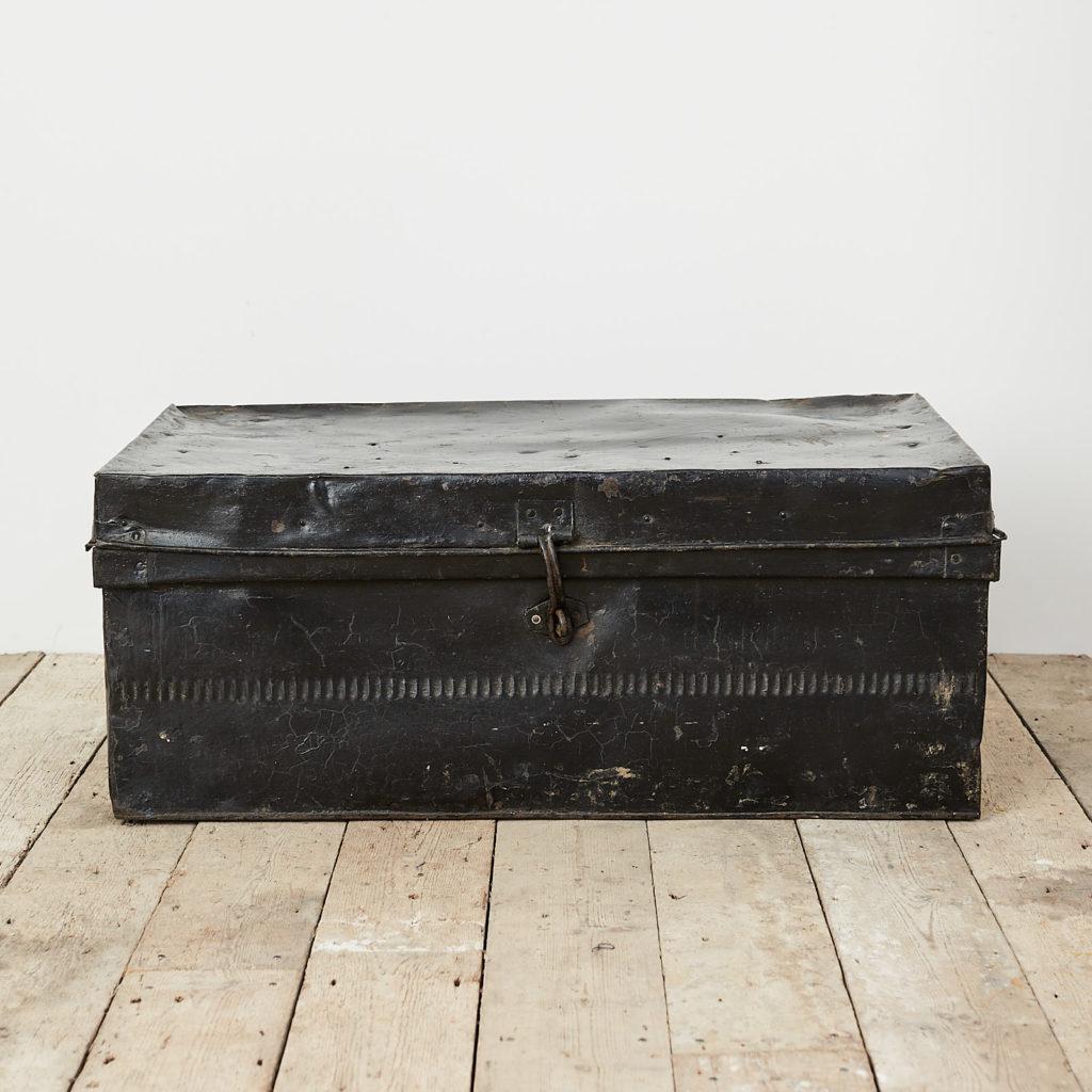 Reclaimed industrial black metal trunk,-0