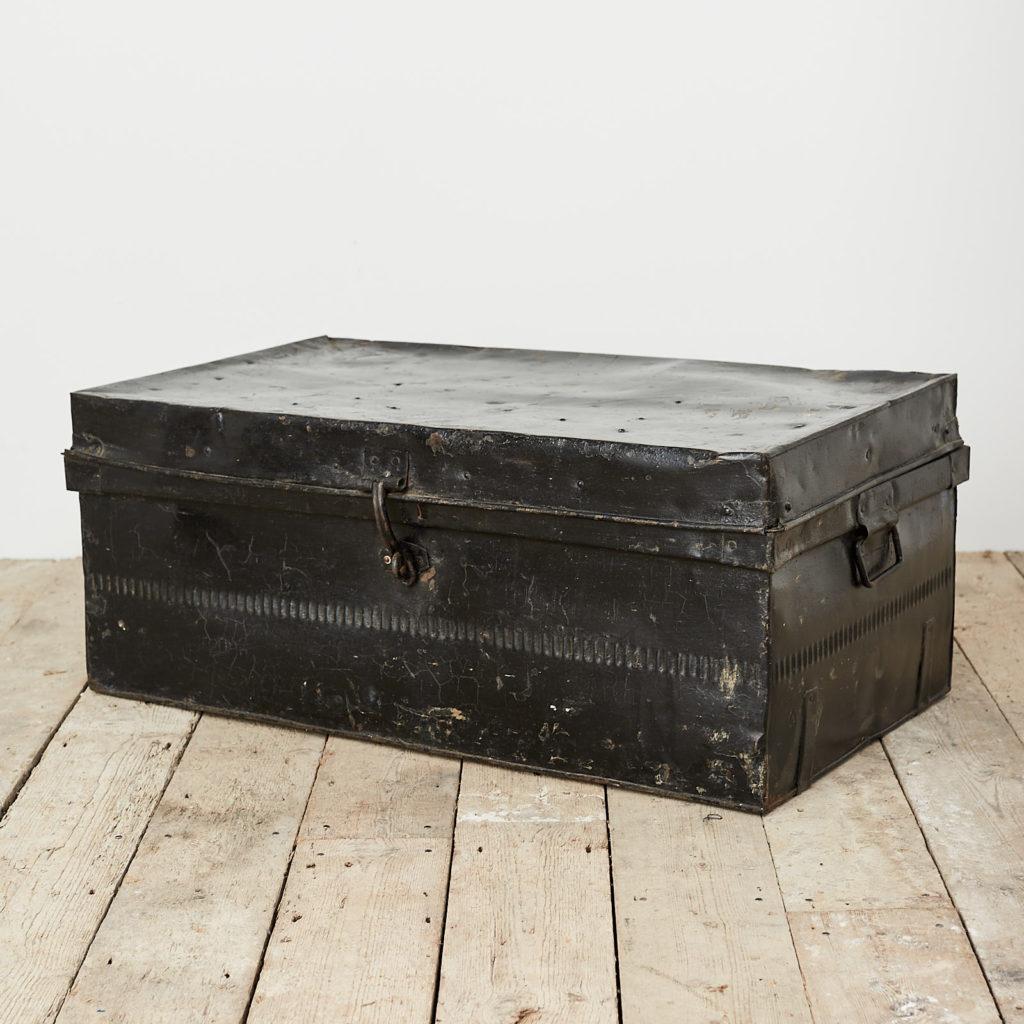 Reclaimed industrial black metal trunk,-120619