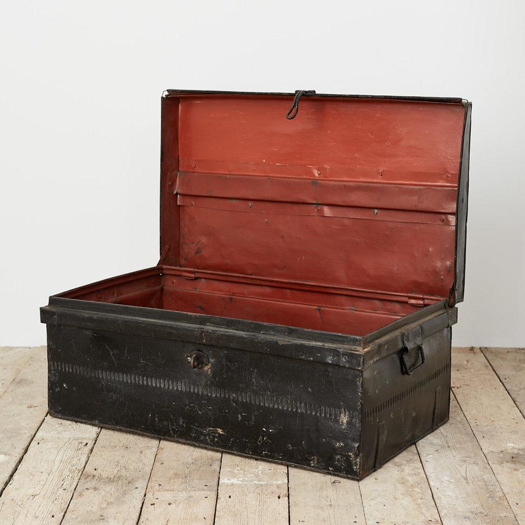 Reclaimed industrial black metal trunk,-120621