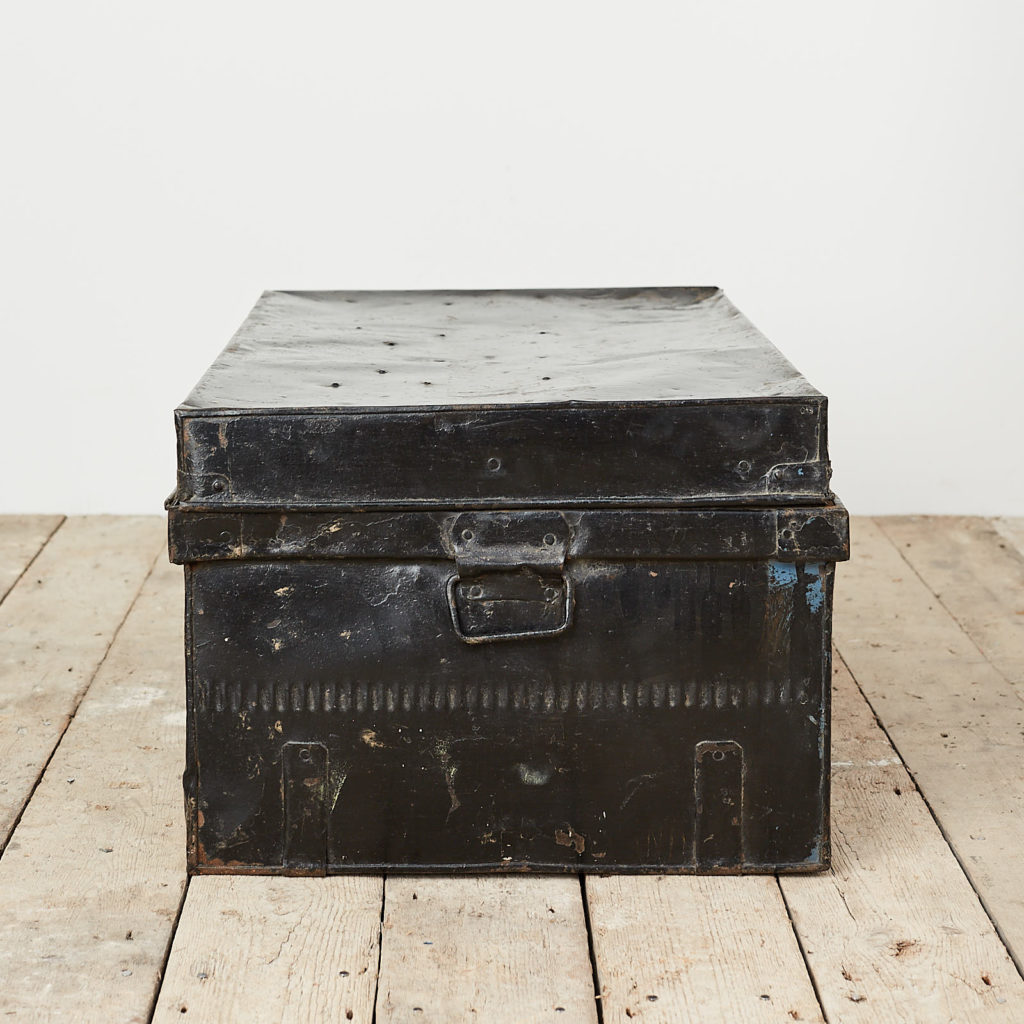 Reclaimed industrial black metal trunk,-120618
