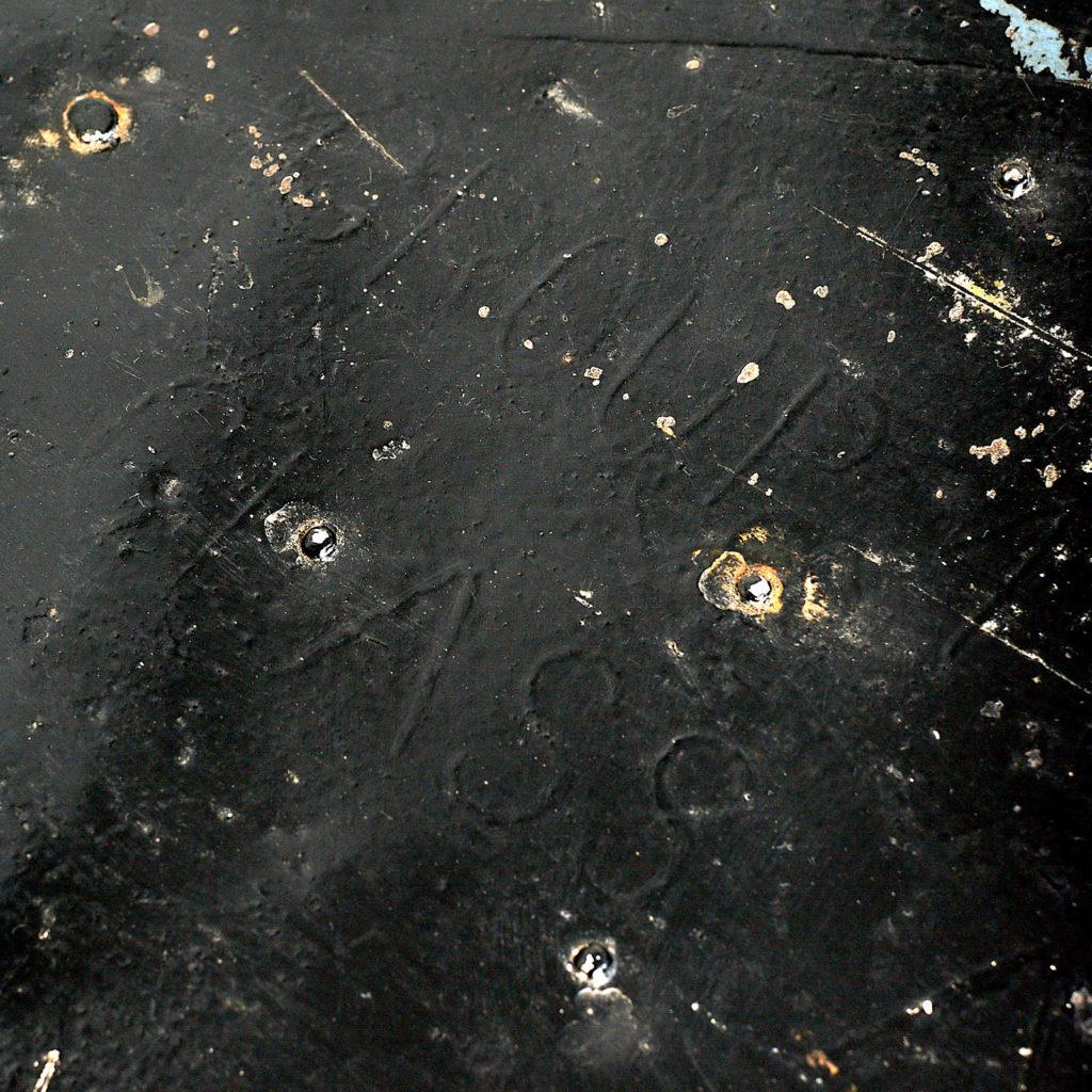 Reclaimed industrial black metal trunk,-120617
