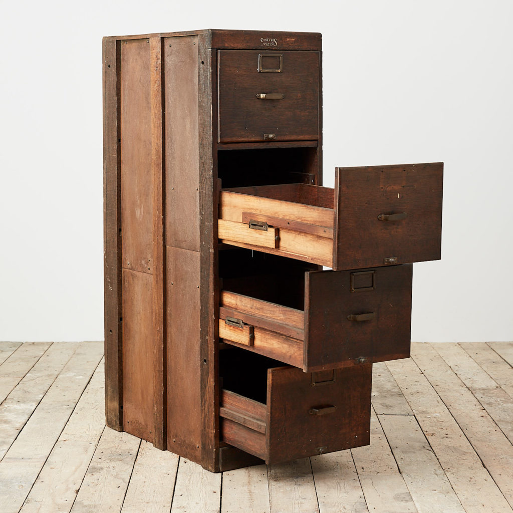 Reclaimed industrial wooden filing cabinet,-120670