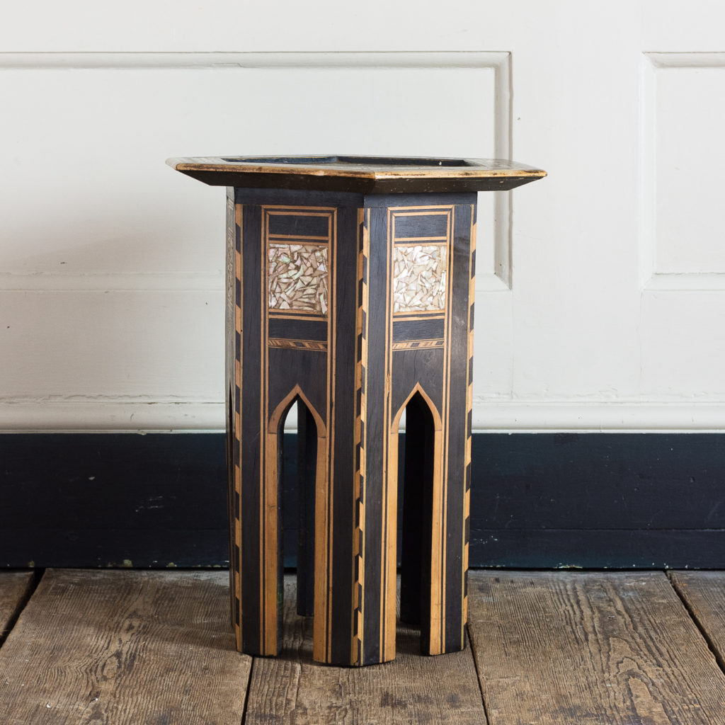 Mother of pearl and hardwood side table,-120144