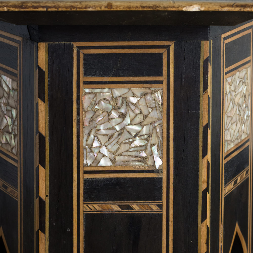 Mother of pearl and hardwood side table,-120141