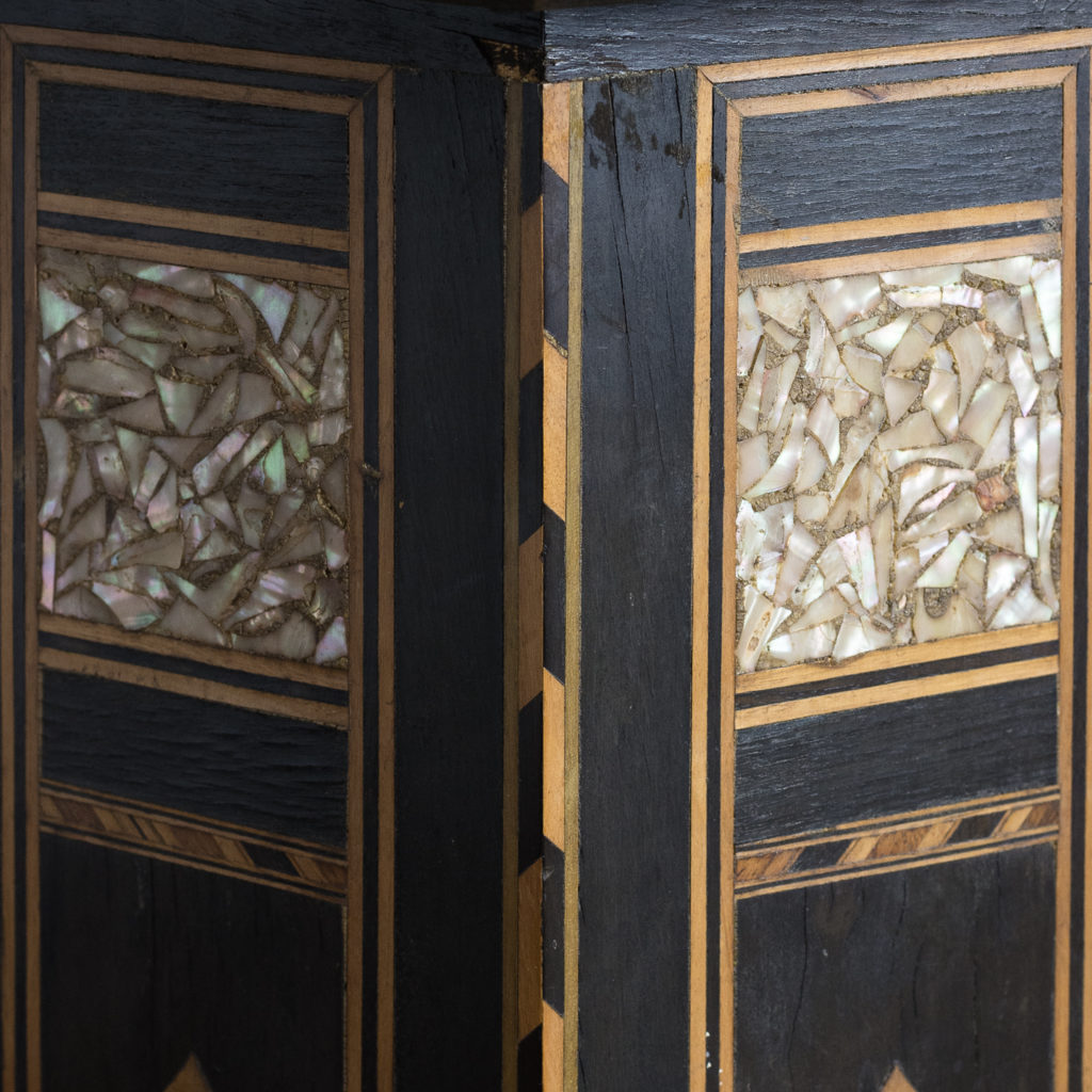 Mother of pearl and hardwood side table,-120153