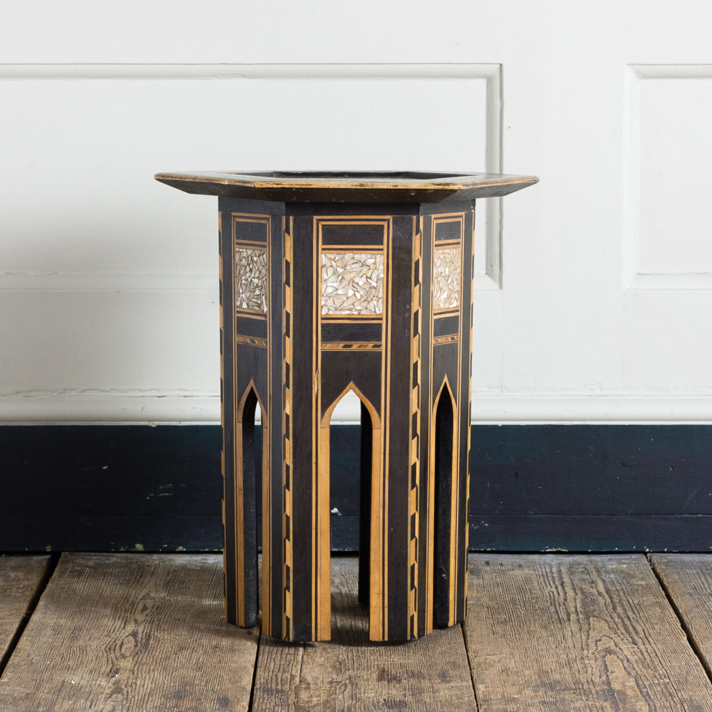 Mother of pearl and hardwood side table,-120151