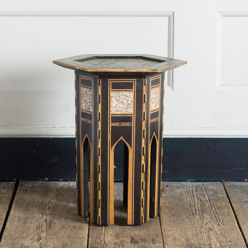 Mother of pearl and hardwood side table,-120149