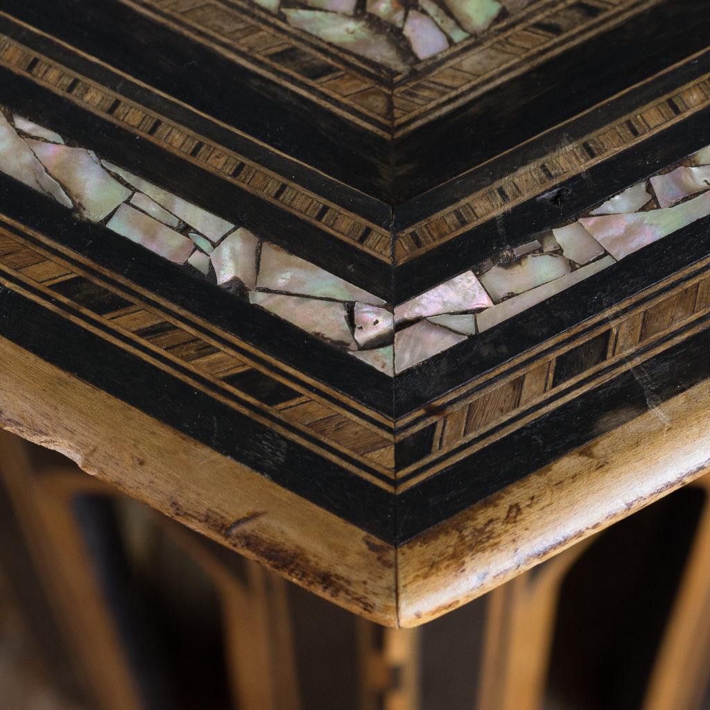 Mother of pearl and hardwood side table,-120154