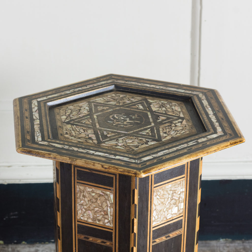 Mother of pearl and hardwood side table,-120148