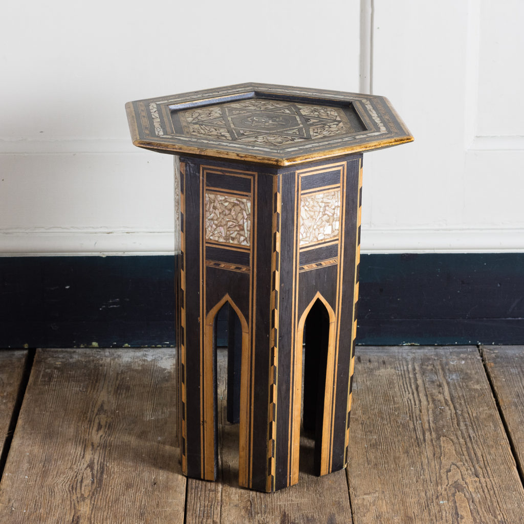 Mother of pearl and hardwood side table,-120152