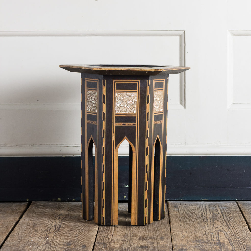 Mother of pearl and hardwood side table,-120145