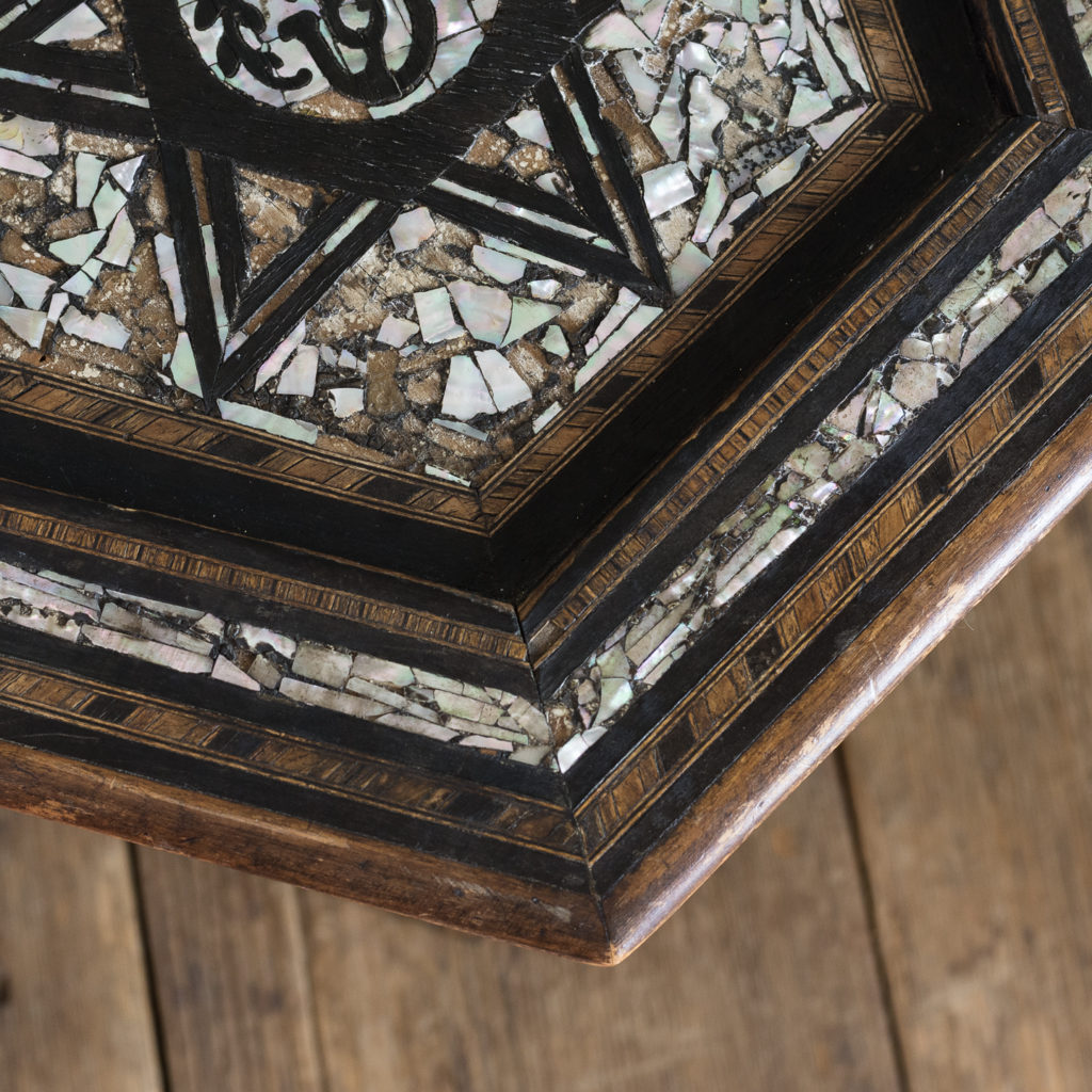 Mother of pearl and hardwood side table,-120216