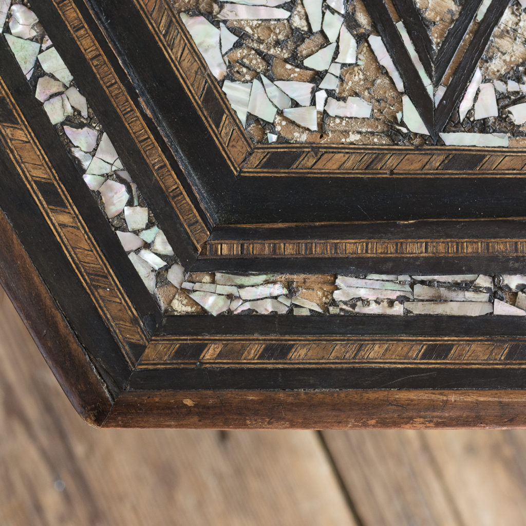Mother of pearl and hardwood side table,-120205