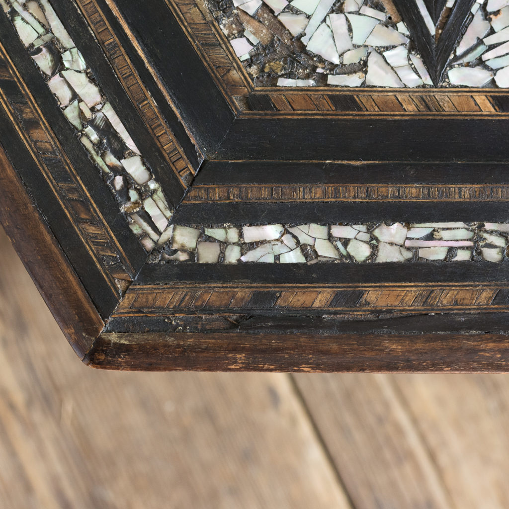 Mother of pearl and hardwood side table,-120214