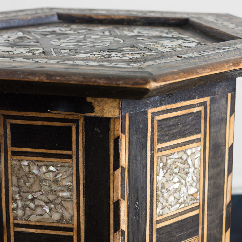 Mother of pearl and hardwood side table,-120209