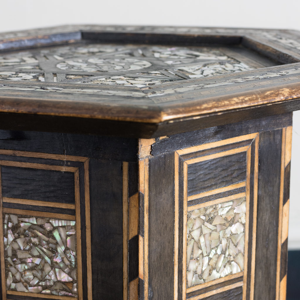Mother of pearl and hardwood side table,-120212