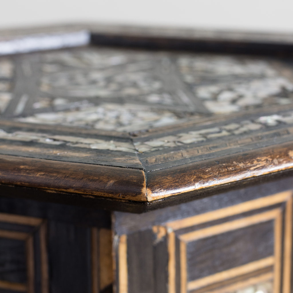 Mother of pearl and hardwood side table,-120208