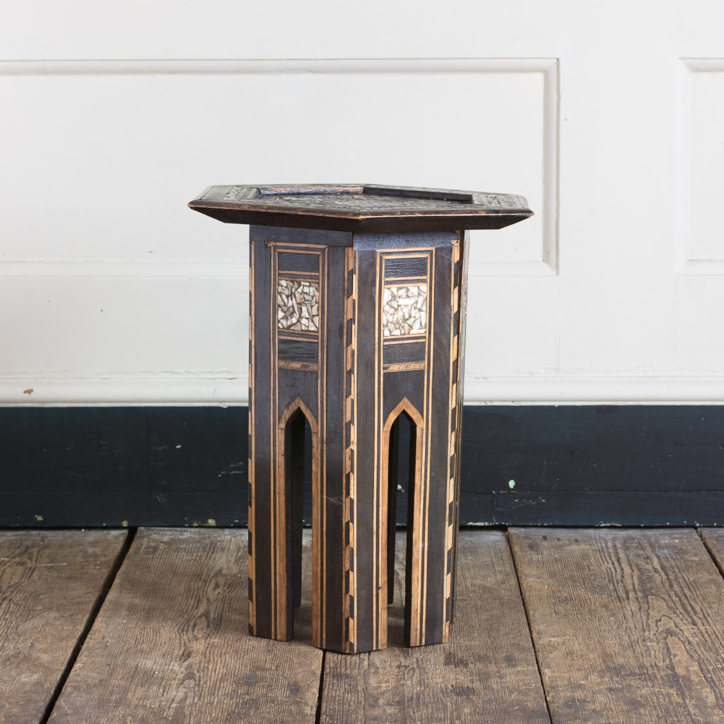 Mother of pearl and hardwood side table,-0