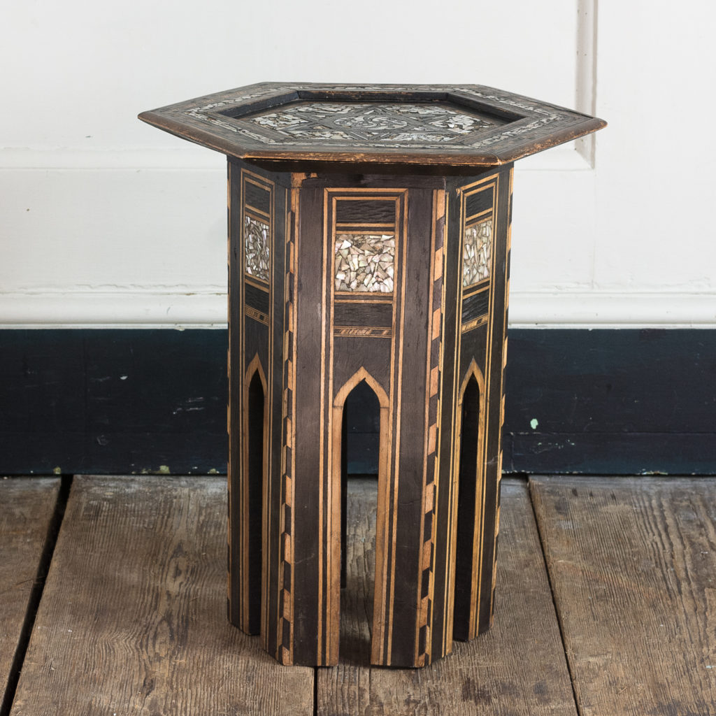 Mother of pearl and hardwood side table,-120207