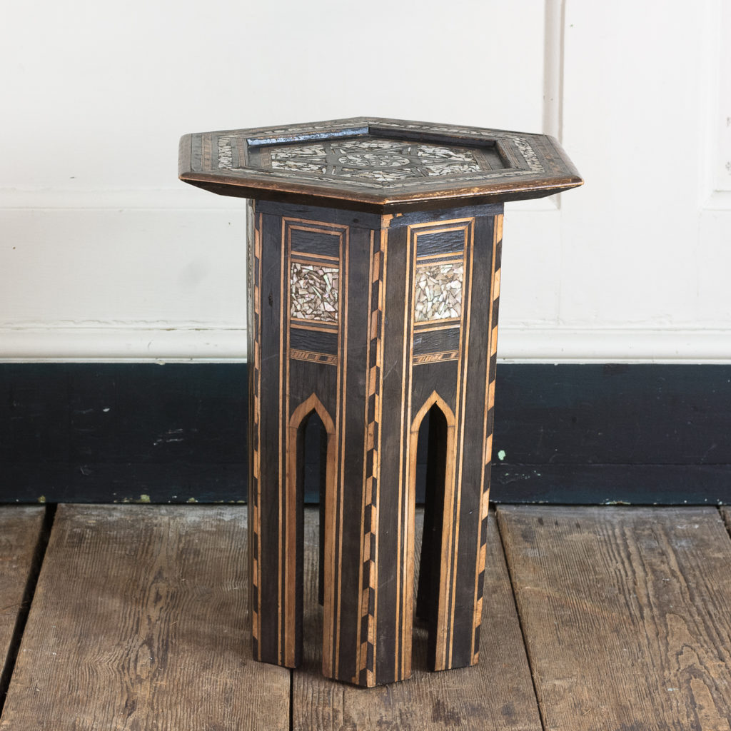 Mother of pearl and hardwood side table,-120210