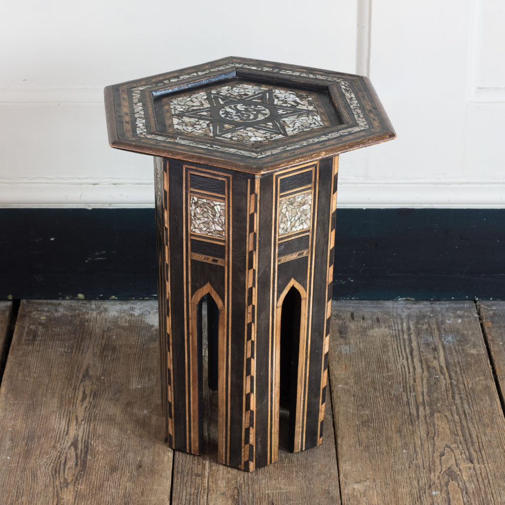 Mother of pearl and hardwood side table,-120201
