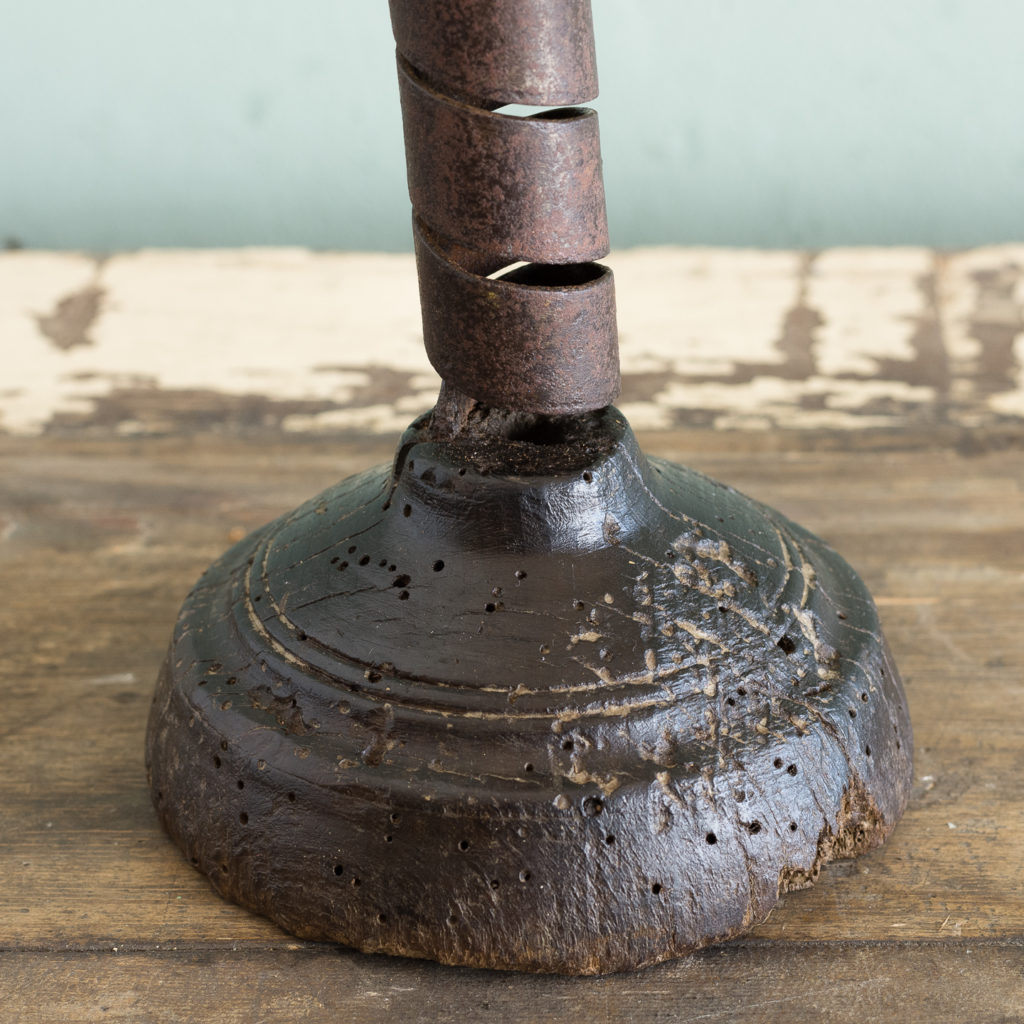 Eighteenth century wrought iron spiral candlestick,-120942