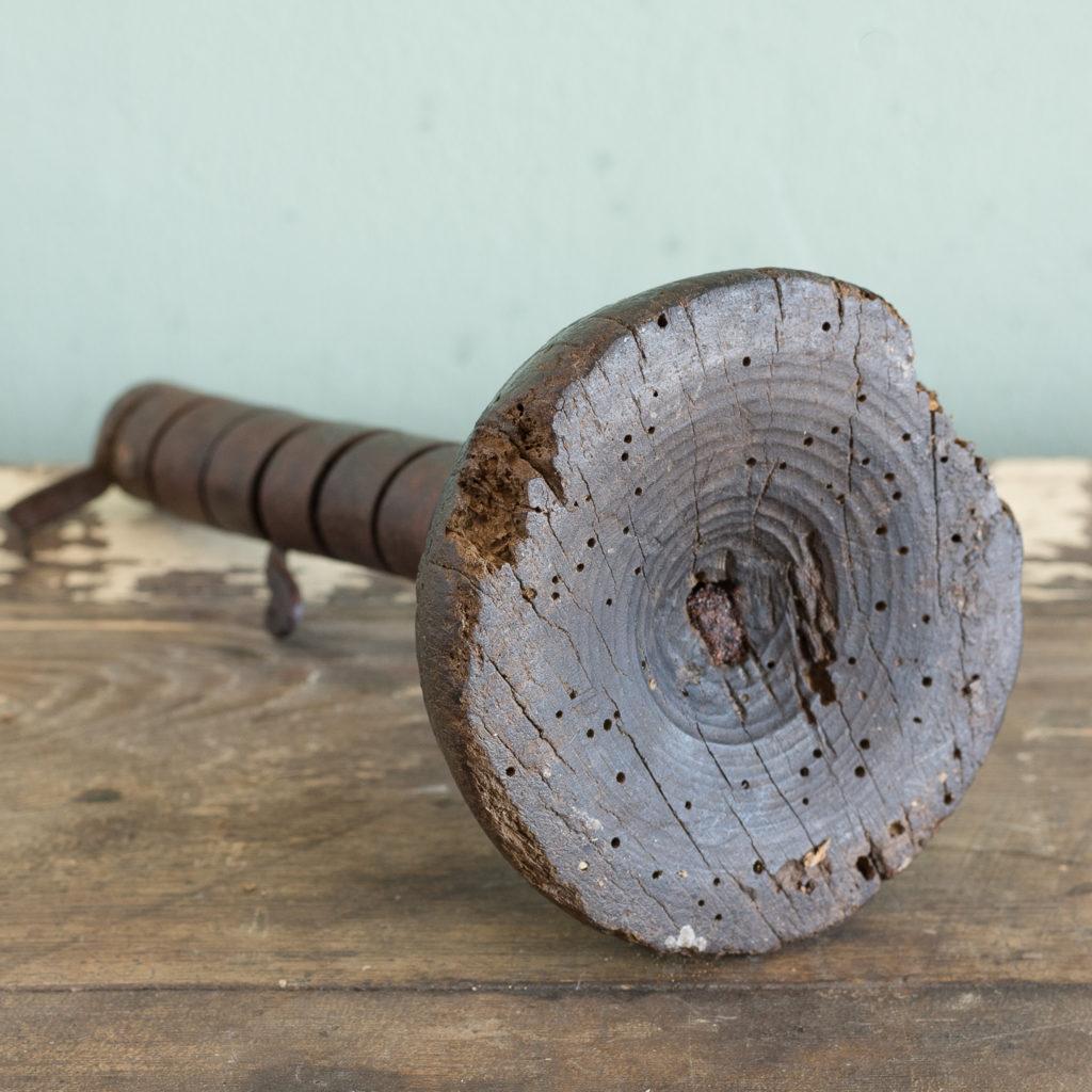 Eighteenth century wrought iron spiral candlestick,-120941