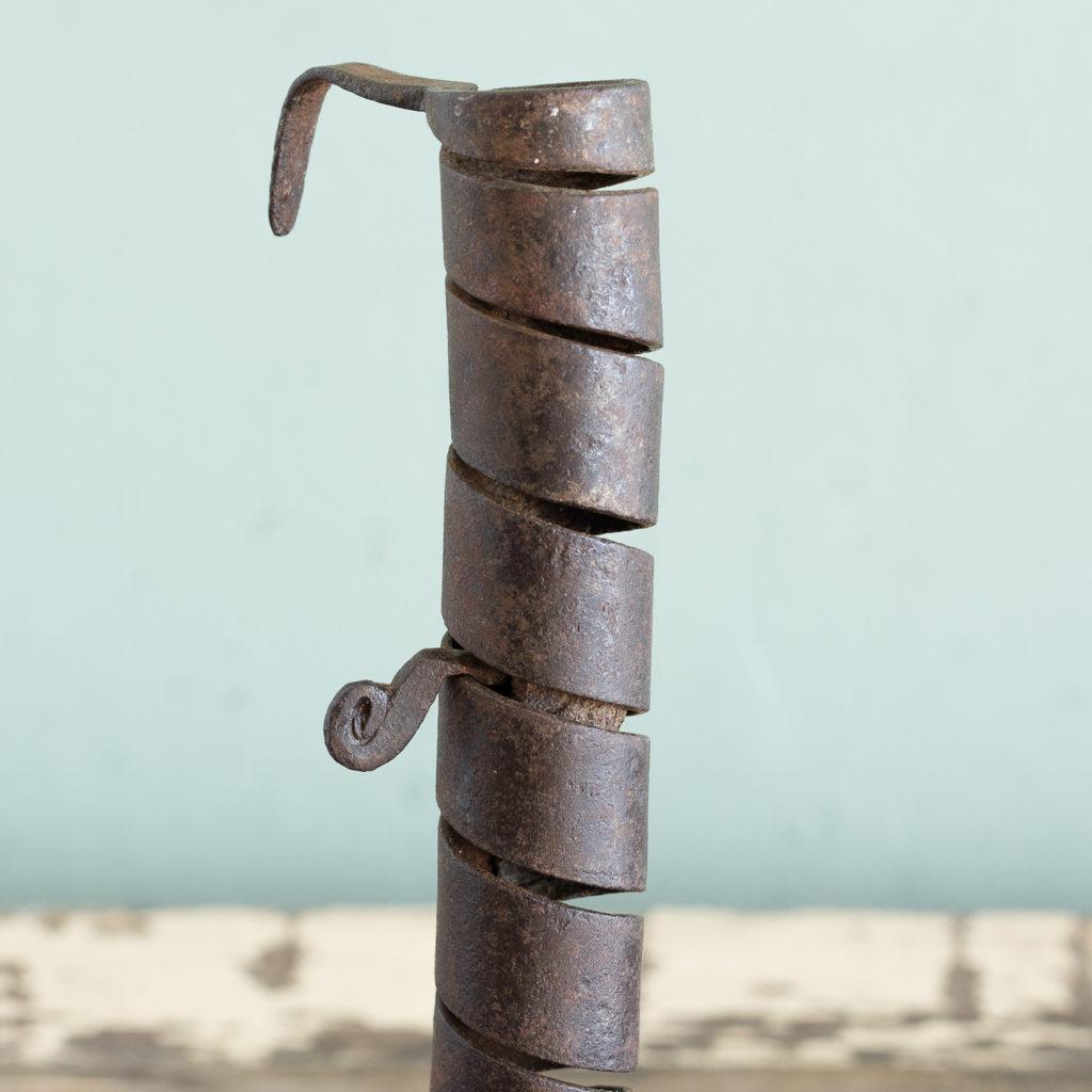Eighteenth century wrought iron spiral candlestick,-120940