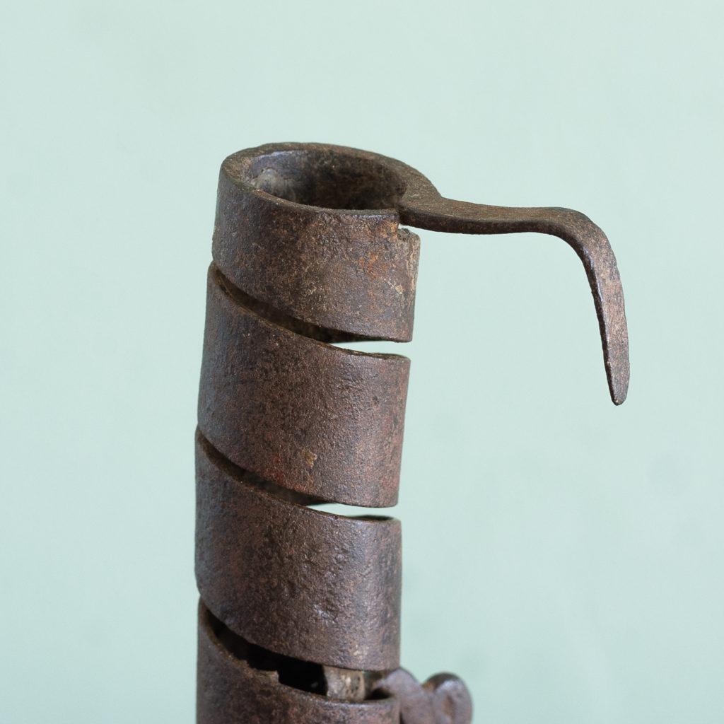 Eighteenth century wrought iron spiral candlestick,-120946