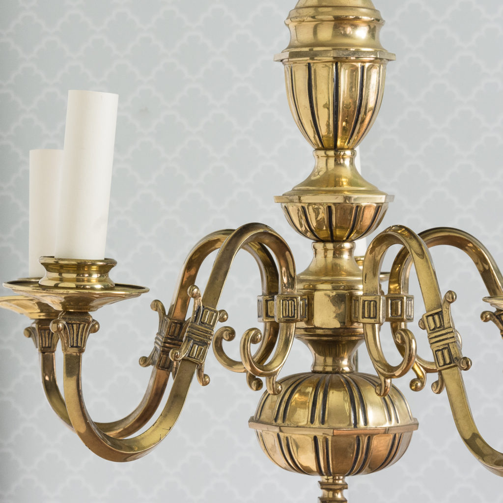 Continental inspired brass five branch chandeliers,-120418