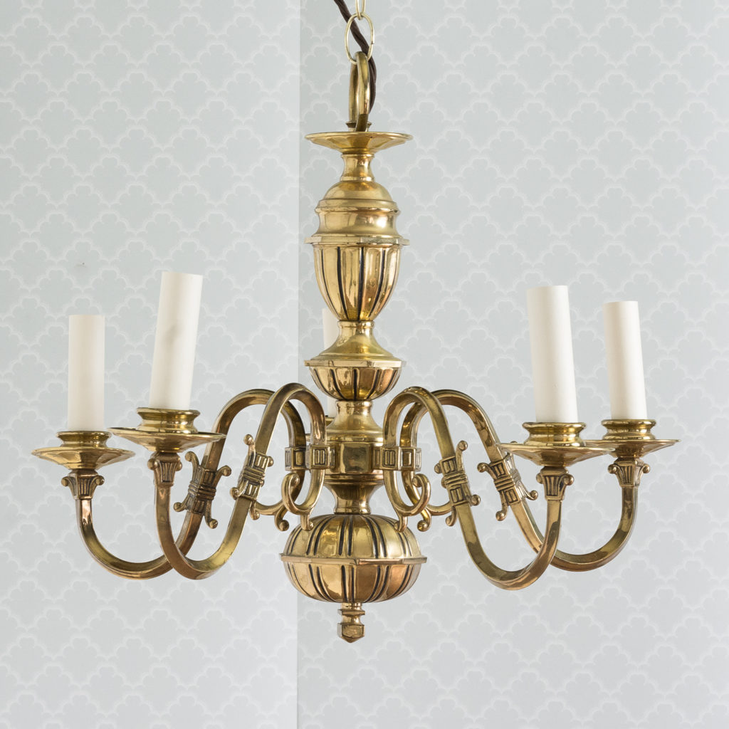 Continental inspired brass five branch chandeliers,-0