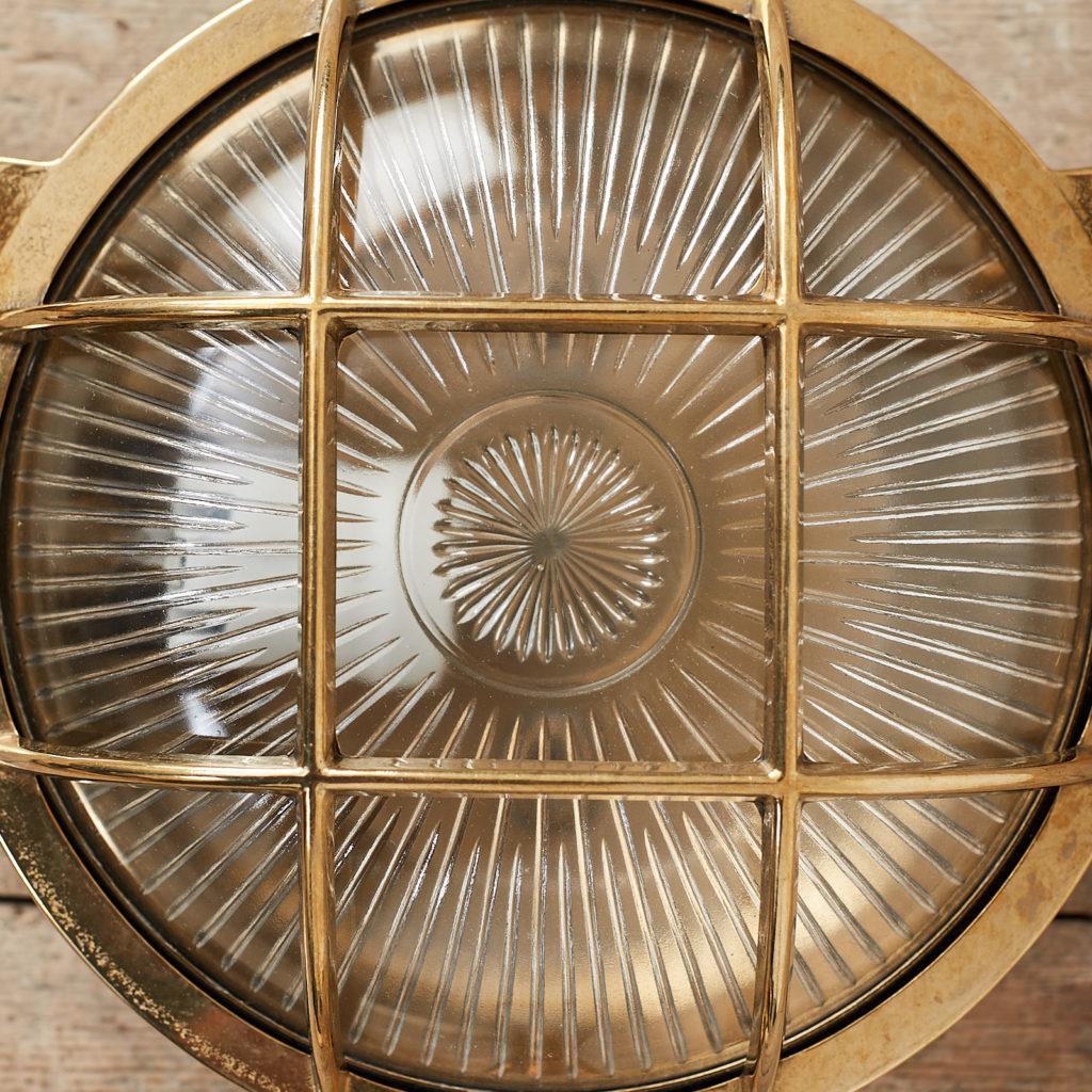 A round polished brass bulkhead light,-121577