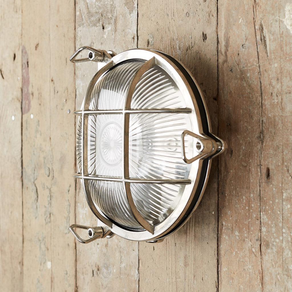 A round polished nickel bulkhead light,-121608