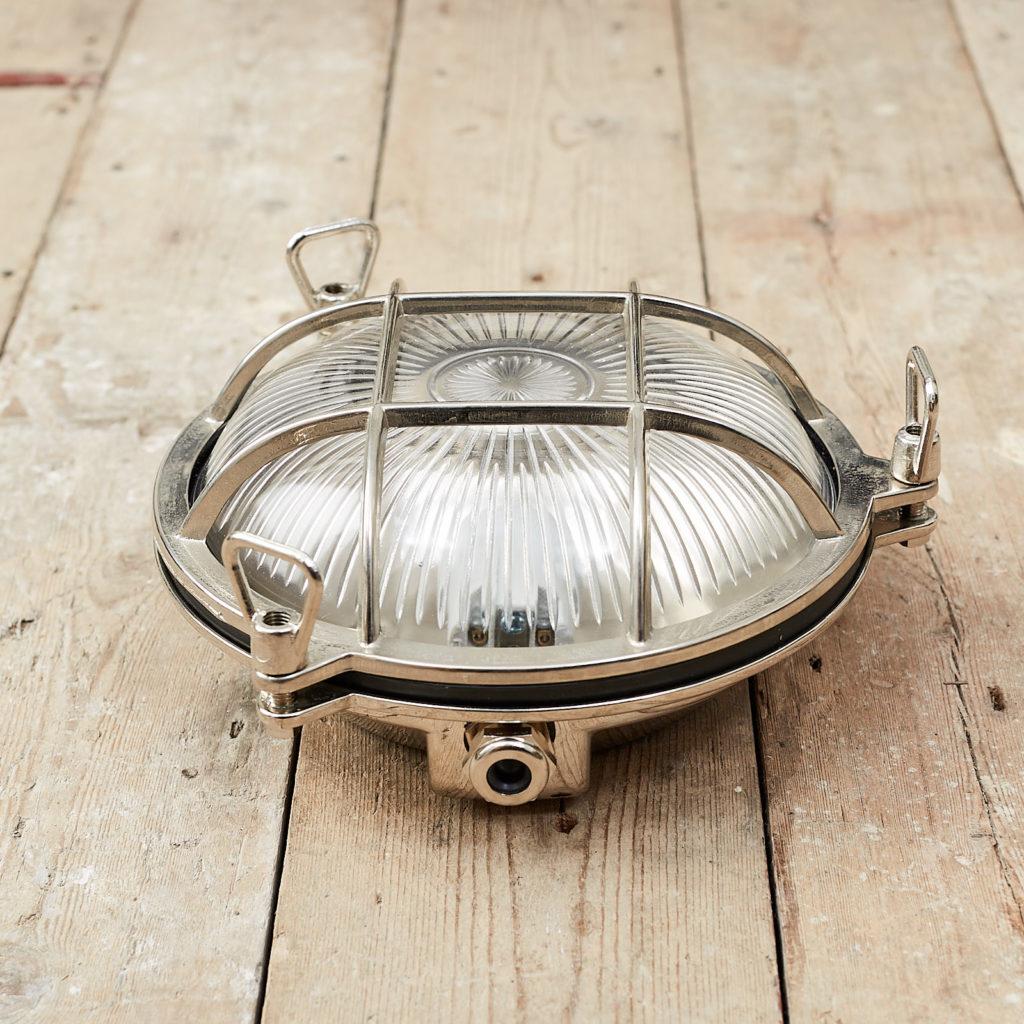 A round polished nickel bulkhead light,-121603