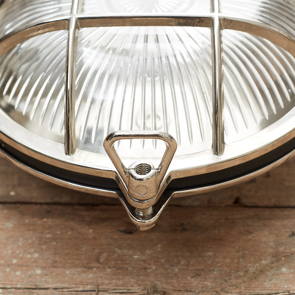A round polished nickel bulkhead light,-121604
