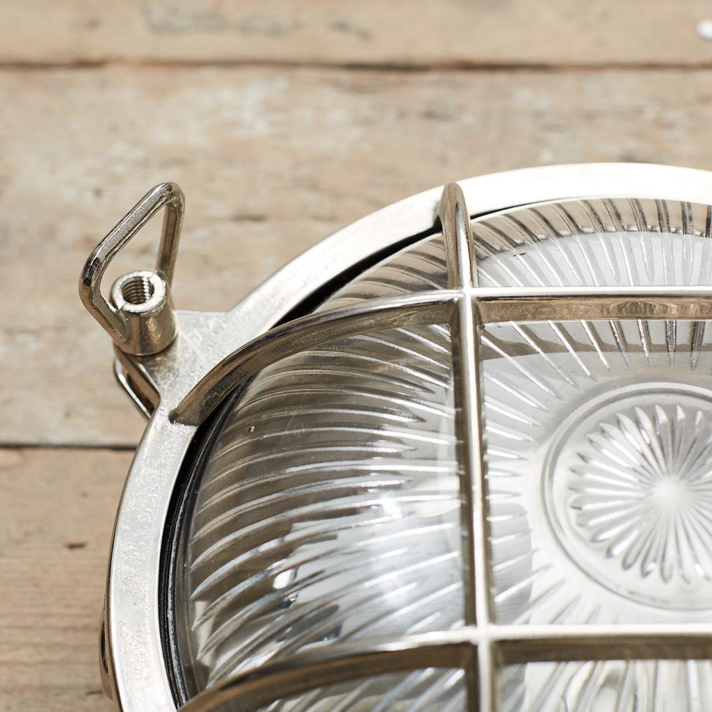 A round polished nickel bulkhead light,-121607