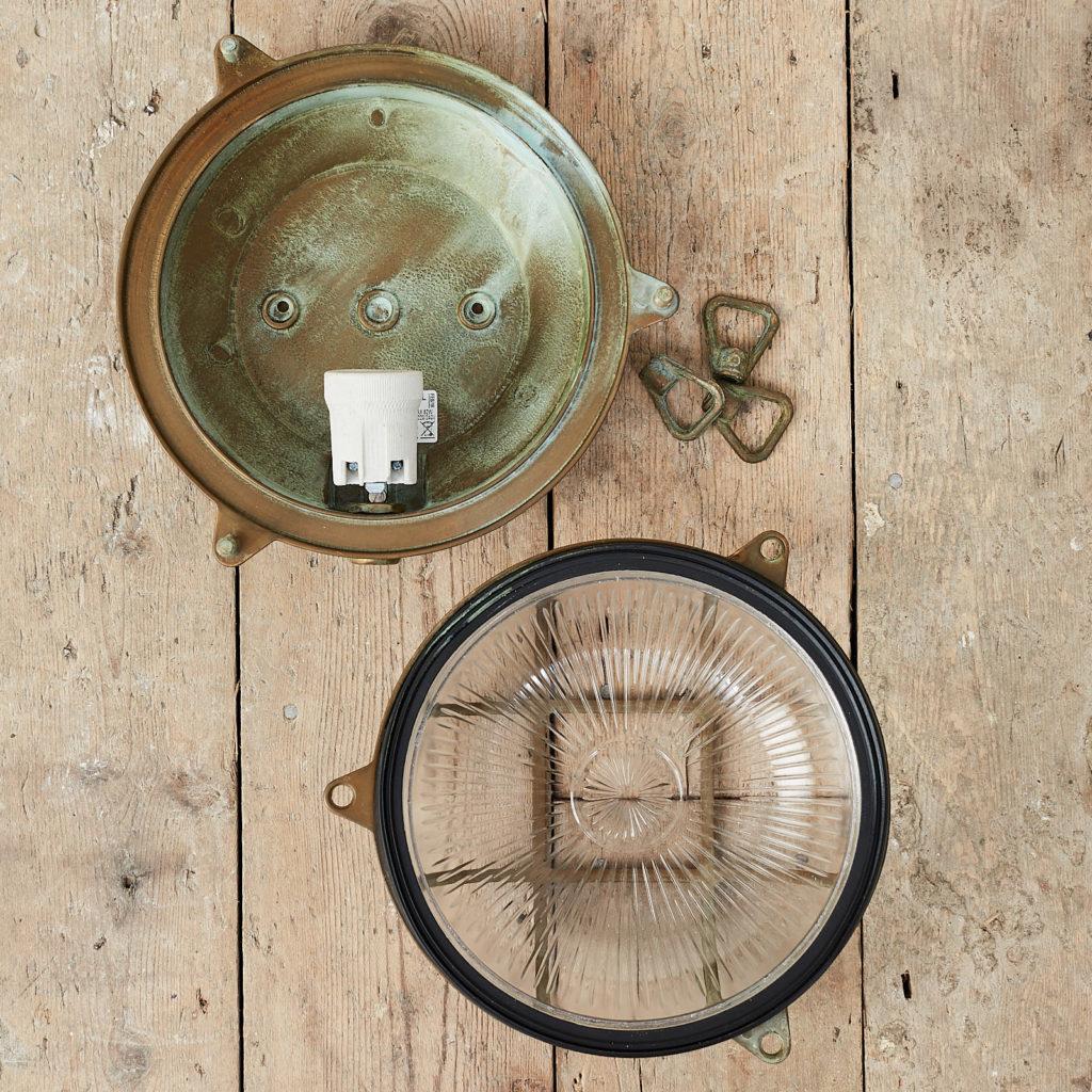 A round polished brass bulkhead light,-121578