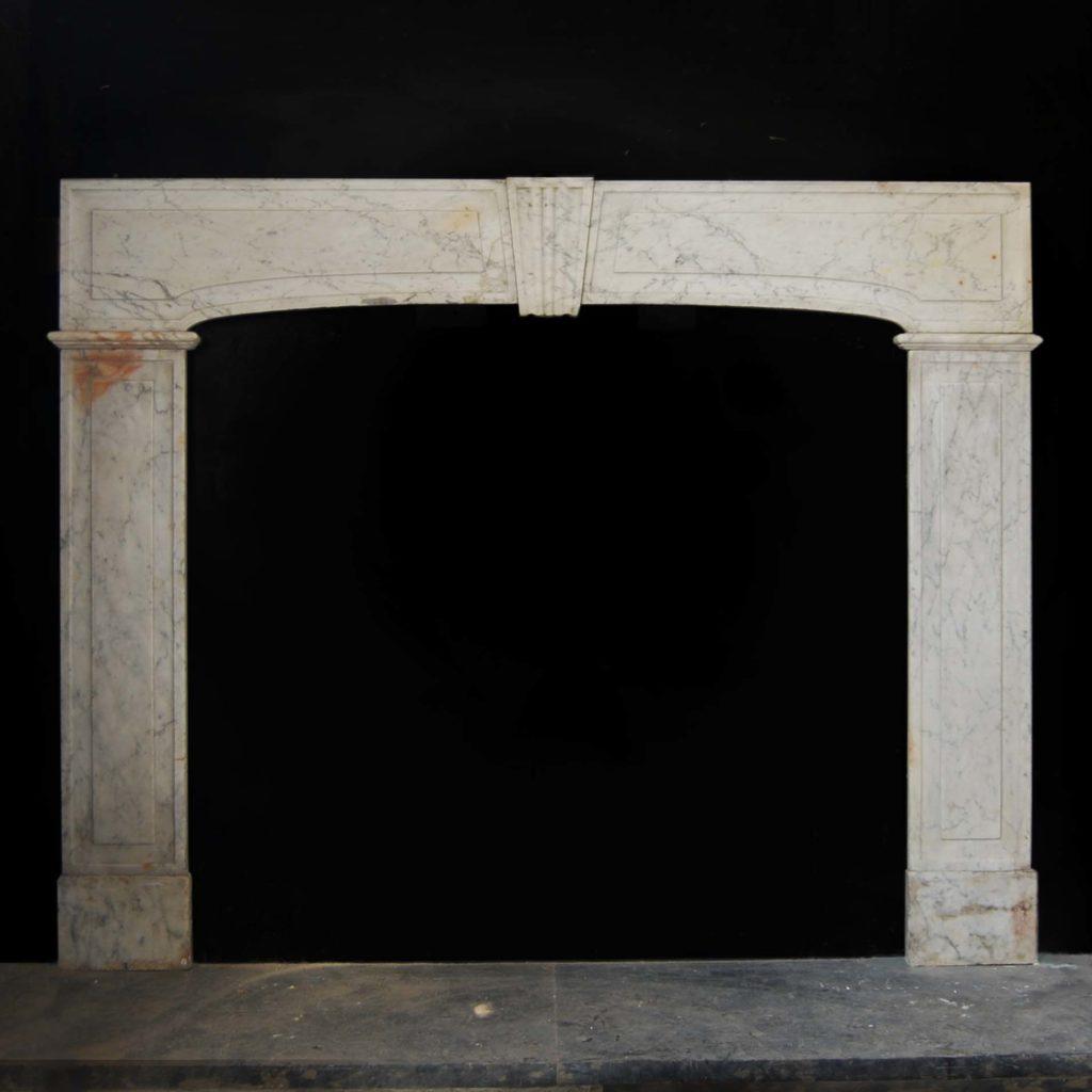 A rare George I Carrara marble chimneypiece, -0