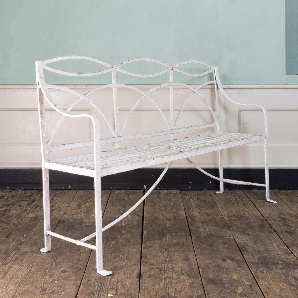 Regency wrought iron bench,-122455