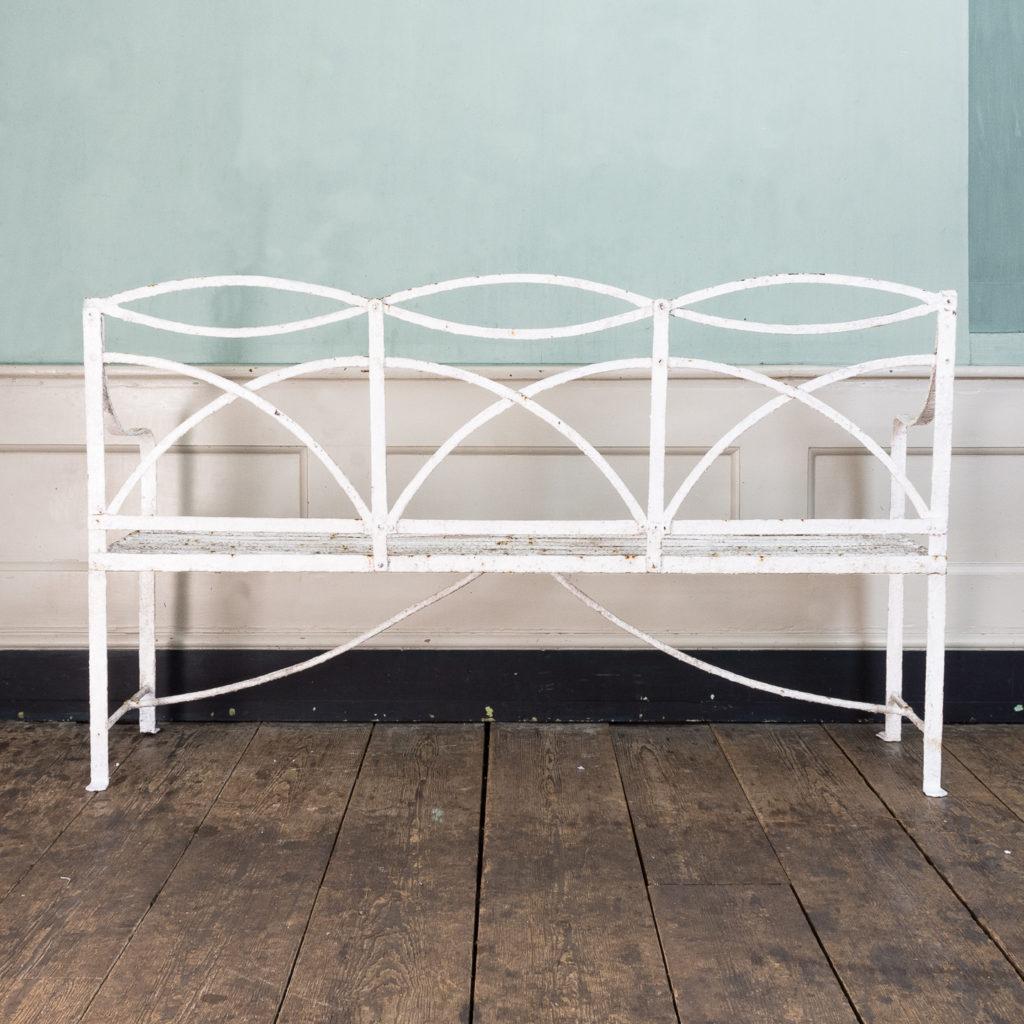 Regency wrought iron bench,-122462
