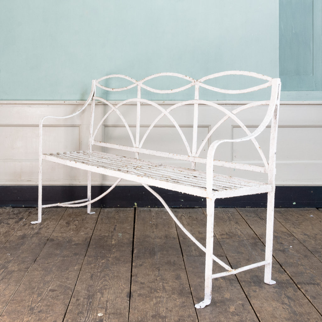 Regency wrought iron bench,-0