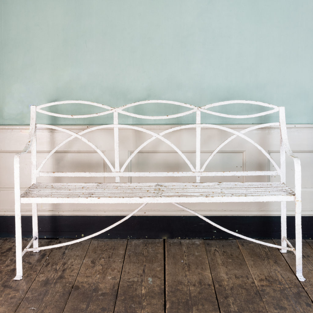 Regency wrought iron bench,-122456