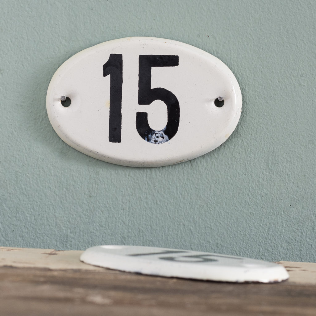 French enamelled house numbers,-0