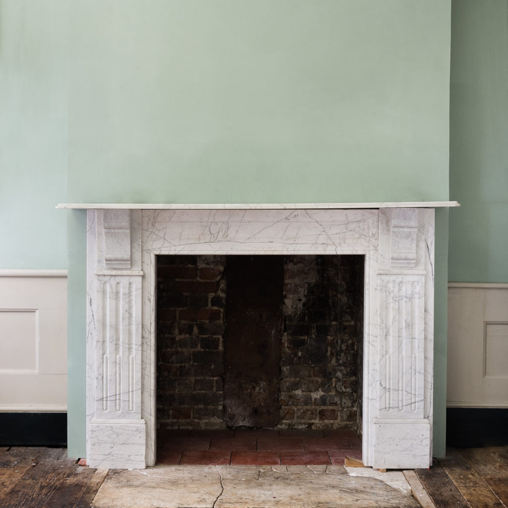 Edwardian pencil vein marble chimneypiece,-0