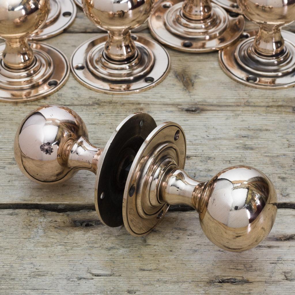 Edwardian rose brass door knobs,-122293