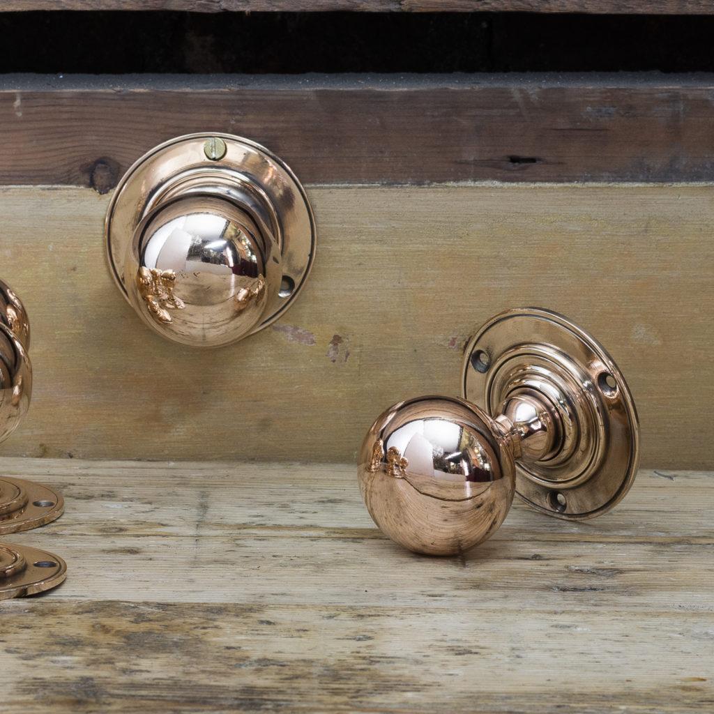Edwardian rose brass door knobs,-122294